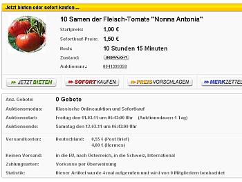 Verkauf von Samen der Nonna Antonina